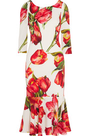Dolce & Gabbana Fluted floral-print stretch-silk midi dress