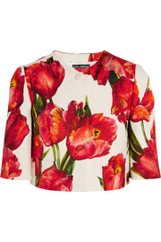Cropped floral-print cotton-blend matelassé jacket