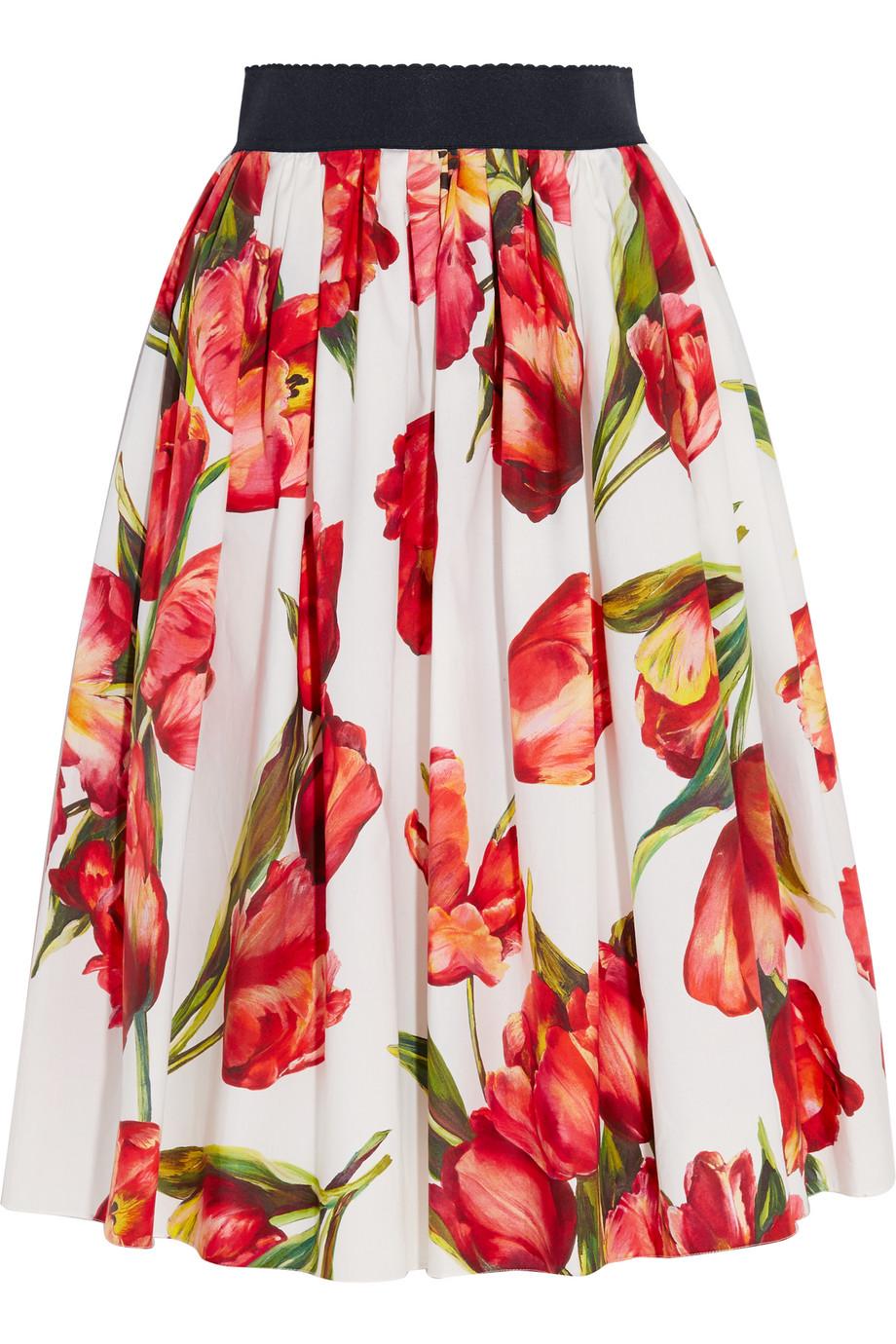 Dolce & Gabbana Floral-Print Cotton-Poplin Skirt, Red, Women's, Size: 46
