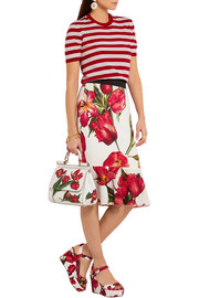 Fluted floral-print stretch-silk skirt