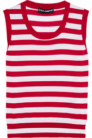 Striped cashmere and silk-blend tank
