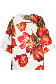 Floral-print silk-twill blouse
