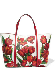Dauphine floral-print textured-leather tote