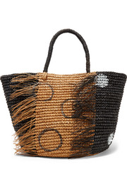 Frayed woven toquilla straw tote