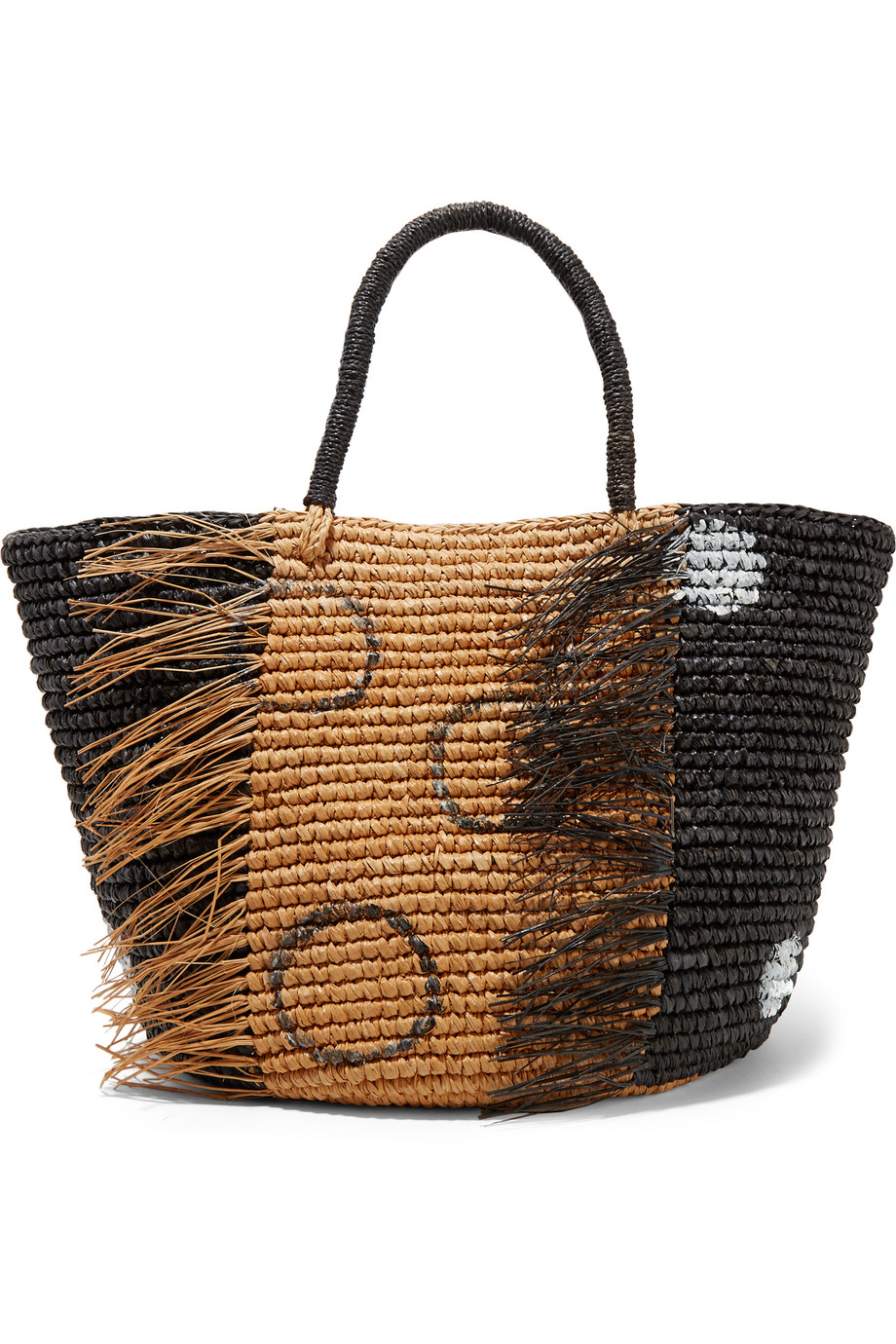 Sensi Studio Frayed Woven Toquilla Straw Tote, Black, Women's