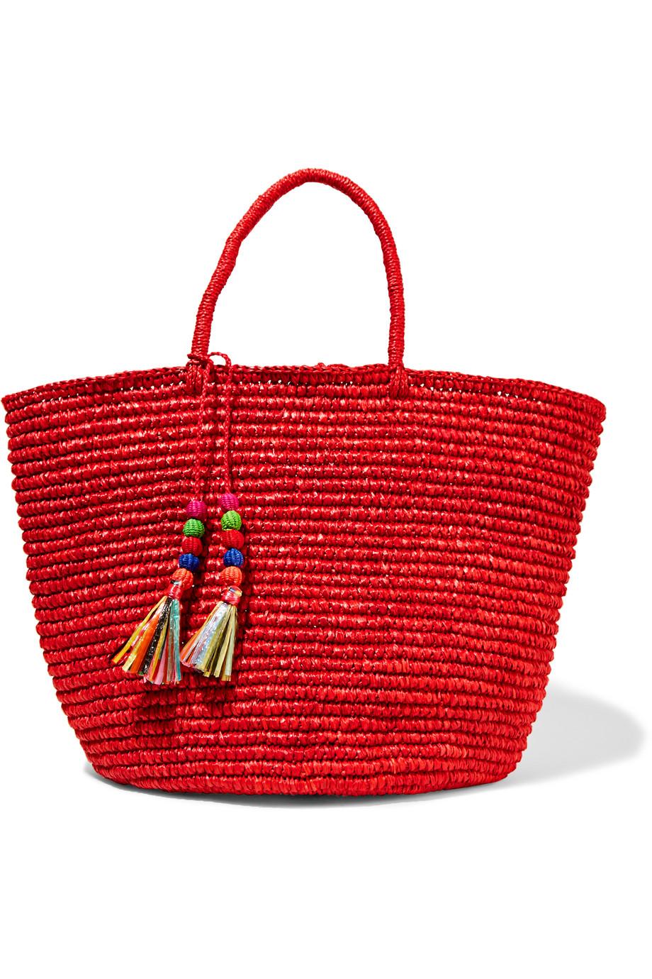 Sensi Studio Maxi Woven Toquilla Straw Tote, Red, Women's