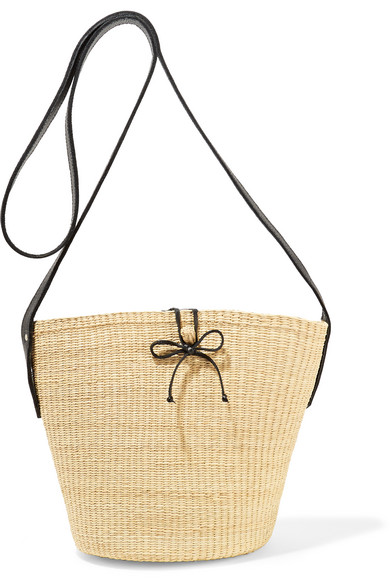 Sensi Studio - Leather-trimmed Woven Toquilla Straw Shoulder Bag - Cream