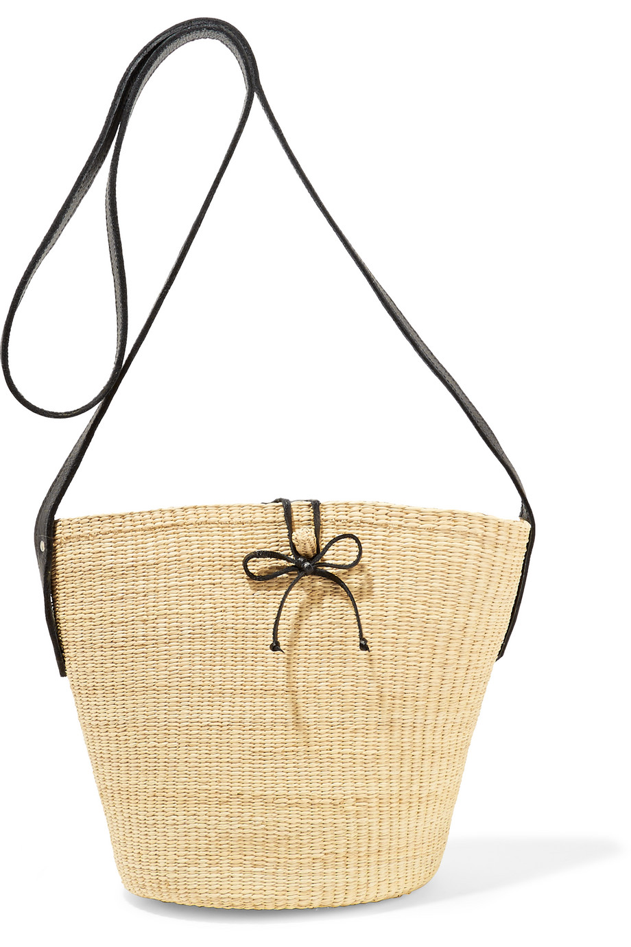 Sensi Studio Leather-Trimmed Woven Toquilla Straw Shoulder Bag, Cream, Women's