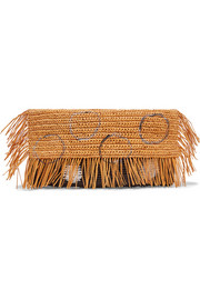 Frayed woven toquilla straw clutch