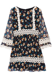 Anna Sui Crochet-trimmed printed silk-georgette mini dress
