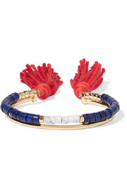 Sioux gold-plated, lapis lazuli, rhyolite and cotton cuff