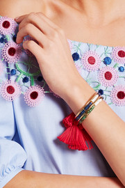 Aurélie Bidermann Sioux gold-plated, lapis lazuli, rhyolite and cotton cuff