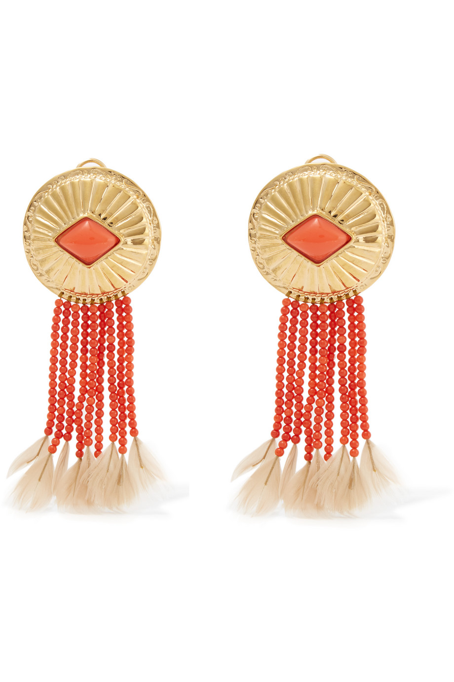 Gold-Plated, Coral and Feather Clip Earrings, Aurélie Bidermann, Women's