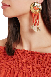Gold-plated, coral and feather clip earrings