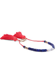 Aurélie Bidermann Gold-plated, lapis lazuli, bamboo and cotton bracelet