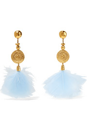Cités d'Or gold-plated feather clip earrings