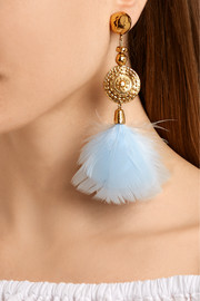 Aurélie Bidermann Cités d'Or gold-plated feather clip earrings