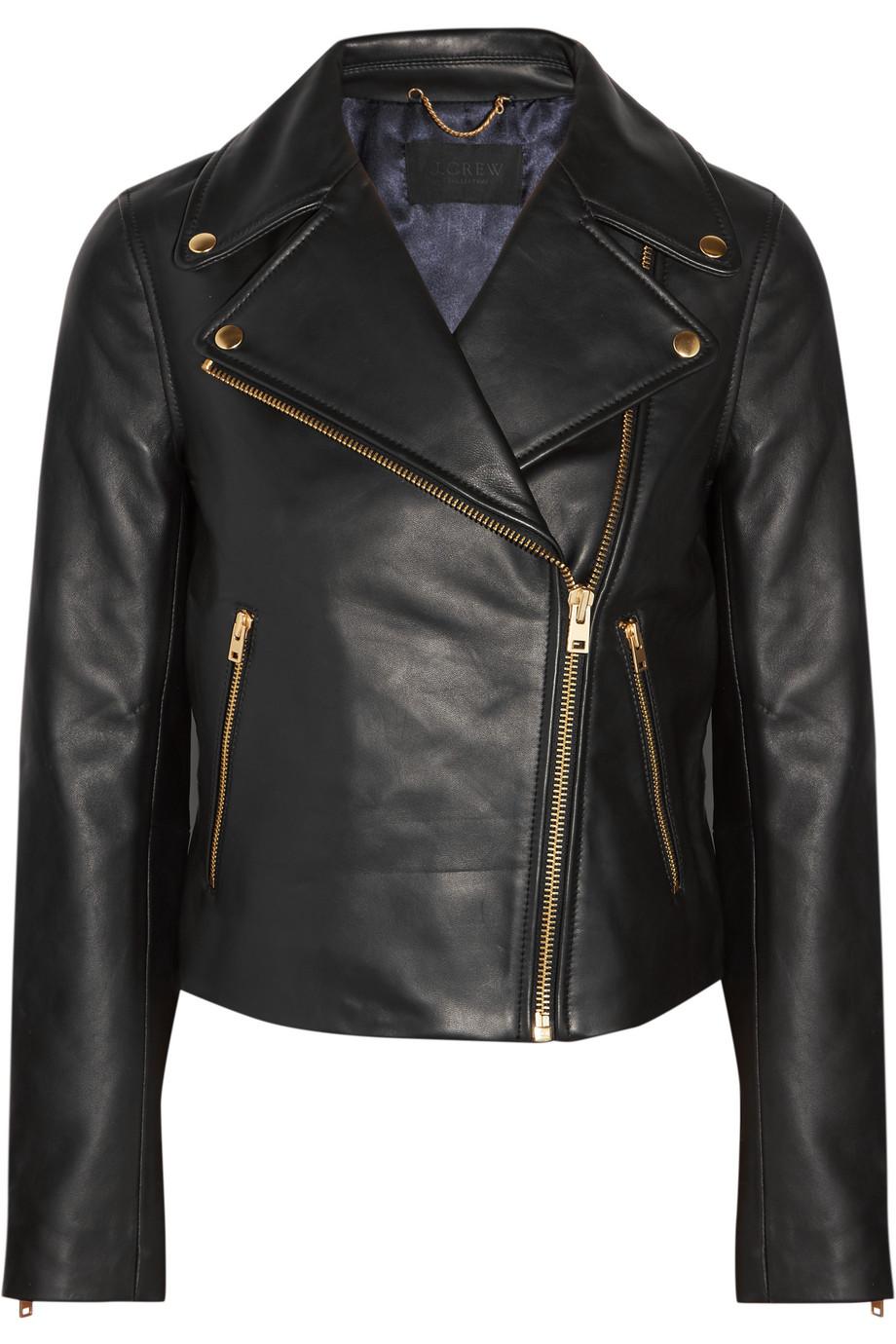 J.Crew Leather Biker Jacket, Black, Women's, Size: 10