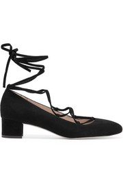 Evelyn lace-up suede pumps