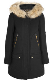 J.Crew Chateau faux fur-trimmed wool-blend coat