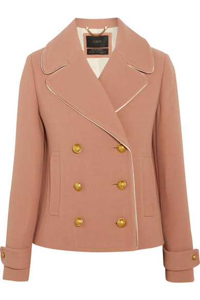 J.Crew - Tipped Satin-trimmed Wool-blend Crepe Jacket - Taupe