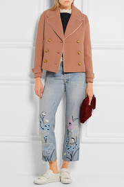 J.Crew Tipped satin-trimmed wool-blend crepe jacket