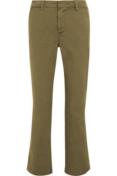 J.Crew - Sammie Cropped Stretch Cotton-twill Straight-leg Pants - Army green