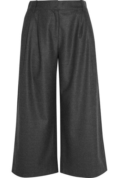 J.Crew - Cropped Wool-flannel Wide-leg Pants - Charcoal