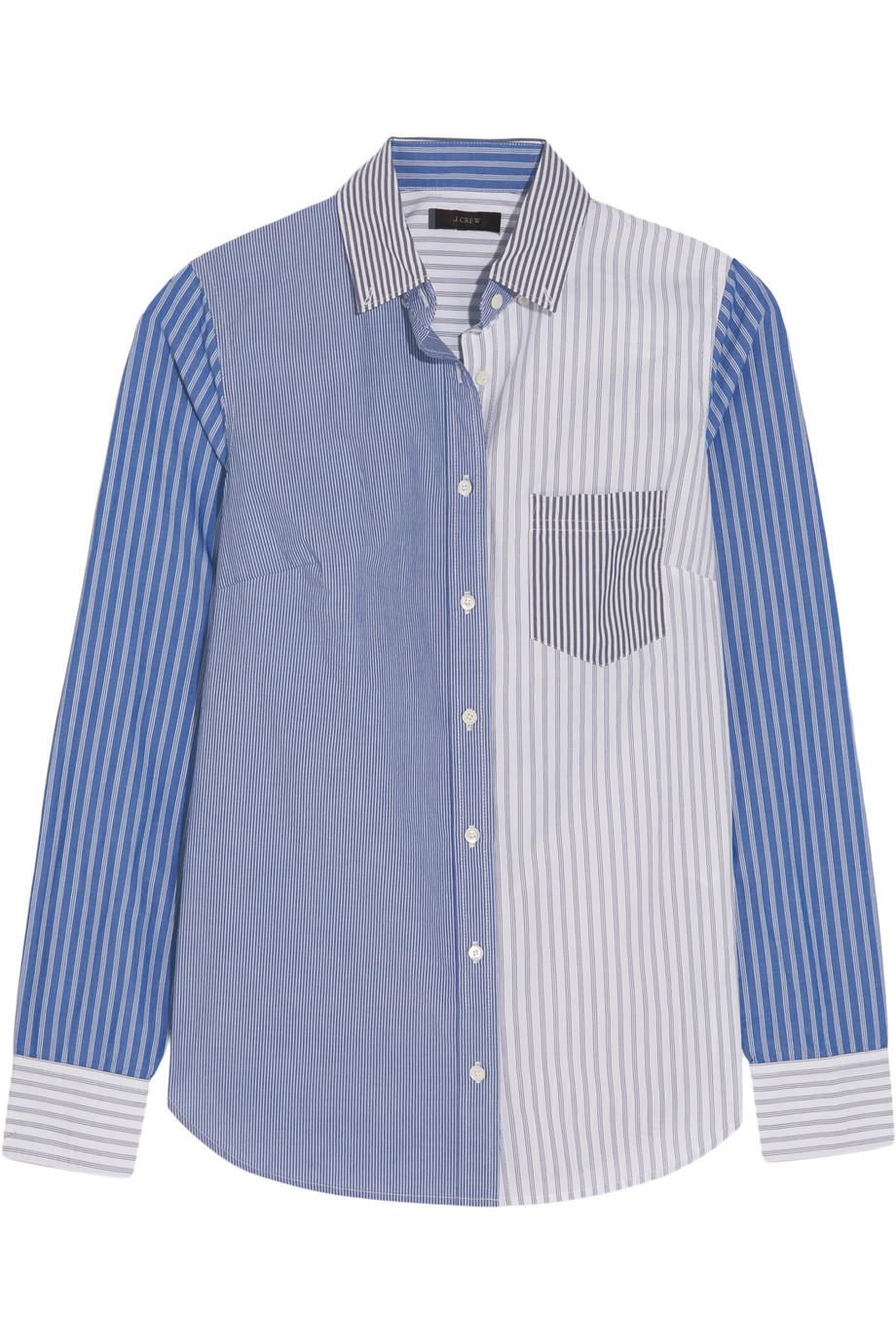 J.Crew Cocktail Striped Cotton-Poplin Shirt, Blue, Women's, Size: 4