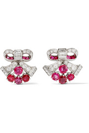 Fred Leighton 1930s platinum, ruby and diamond earrings