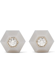 Fred Leighton Collection 18-karat white gold, diamond and chalcedony earrings