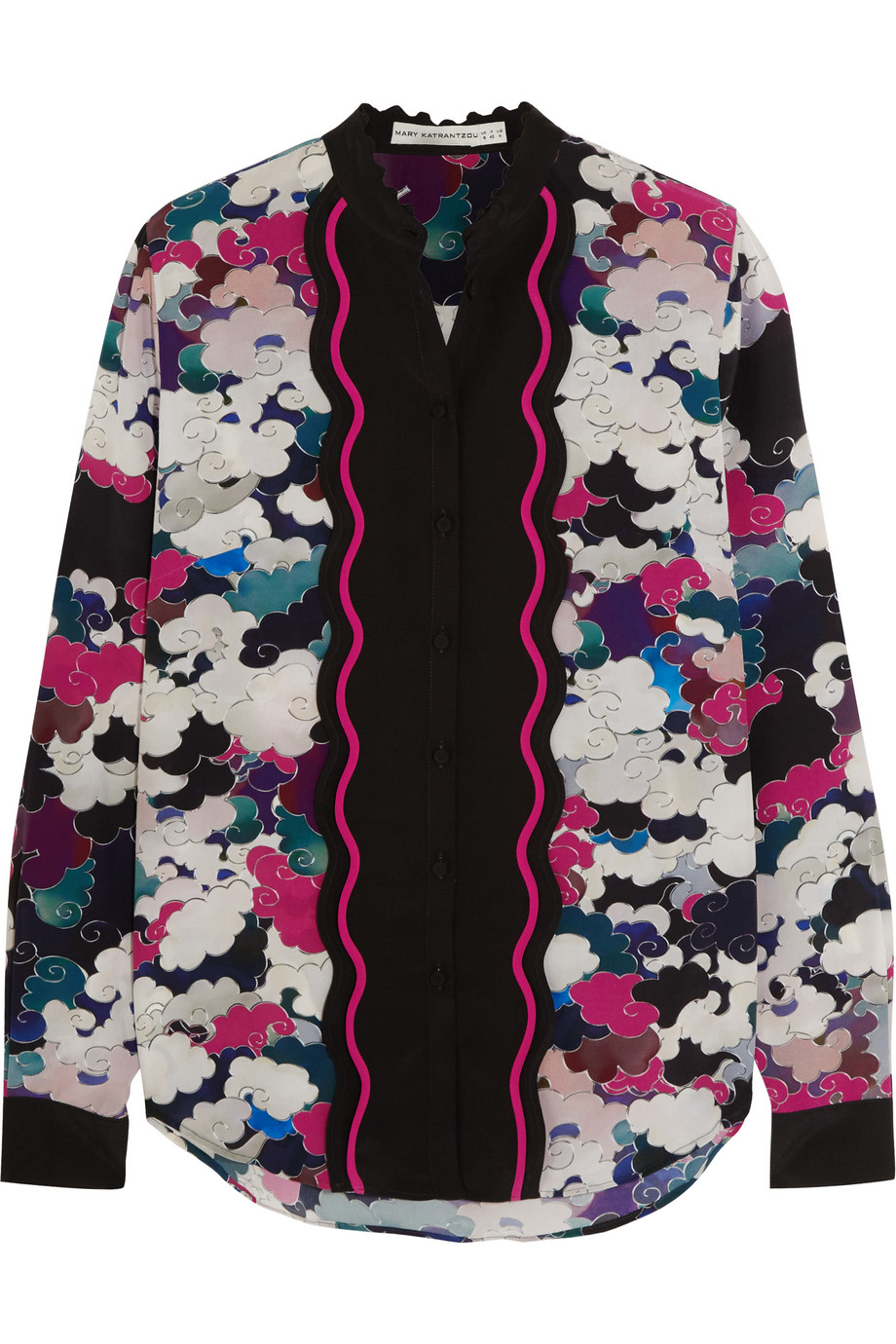 Mary Katrantzou Mica Printed Silk Crepe De Chine Blouse, Magenta/Pink, Women's, Size: 8