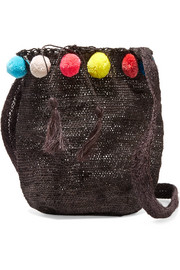 Pompom-embellished woven fique shoulder bag