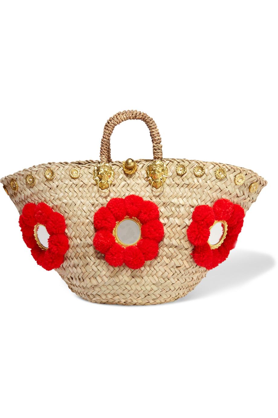 Sicilian Embellished Straw Basket