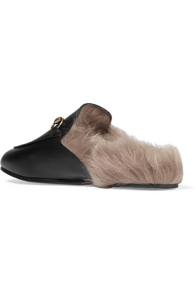 98422cc0b06 Horsebit-detailed shearling-lined leather slippers.  909. Zoom In