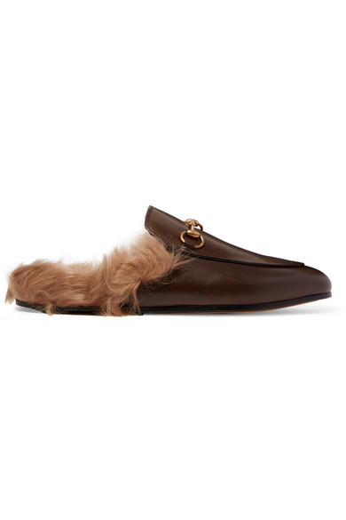 Gucci - Horsebit-detailed Shearling-lined Leather Slippers - Brown