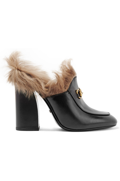 Gucci - Shearling-lined Leather Mules - Black