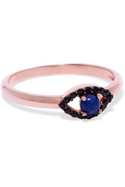 Rose gold-plated, onyx and lapis lazuli ring