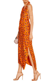 Haney Leopard-print silk halterneck dress