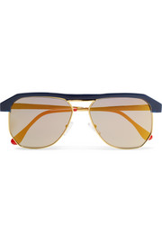 Miami D-frame acetate and gold-tone mirrored sunglasses
