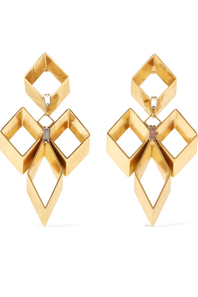 Erickson Beamon - Geometry One Gold-plated Swarovski Crystal Earrings