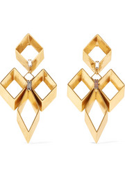 Geometry One gold-plated Swarovski crystal earrings
