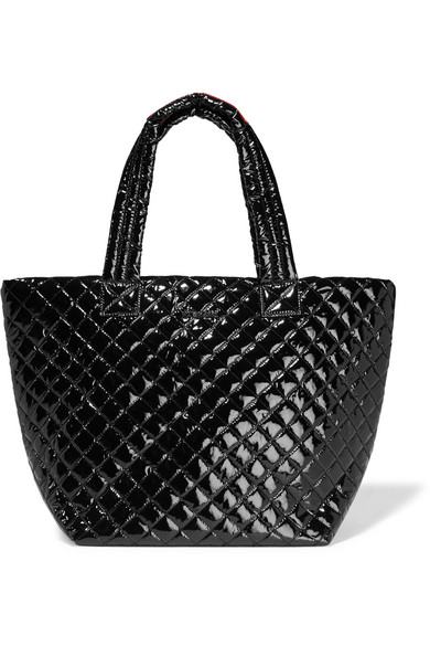 MZ Wallace - Metro Medium Quilted Patent-shell Tote - Black