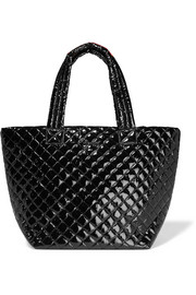 Metro medium quilted patent-shell tote