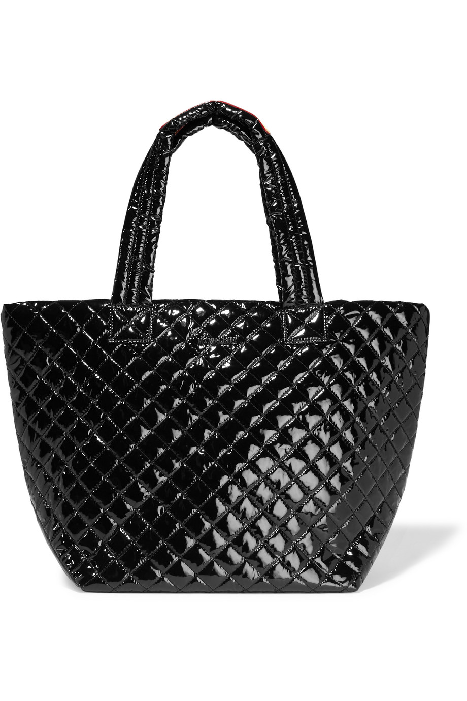 Metro Medium Quilted Patent-Shell Tote, Black, Women's