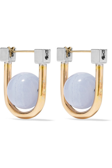 URiBE - Camille Gold And Rhodium-plated Agate Earrings