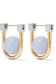 Camille gold and rhodium-plated agate earrings