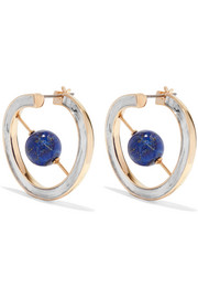 Skylark gold and rhodium-plated lapis lazuli earrings