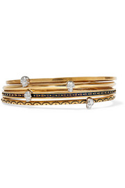 Set of four gold-tone embellished bracelets