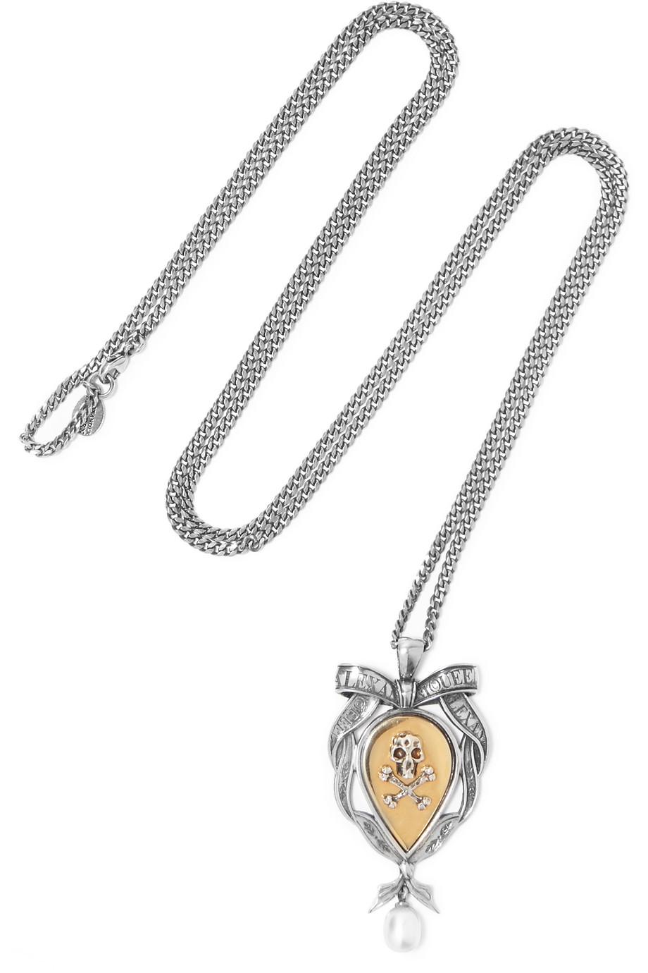 Alexander Mcqueen Palladium-Tone Pearl Necklace, Silver, Women's